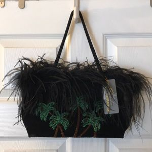 Palm tree & feather beaded handbag
